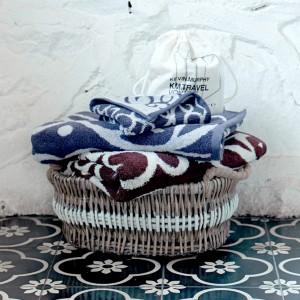 Grace, Handtuch, Gästetuch, blau, braun, weiß, Muster, Duschtuch