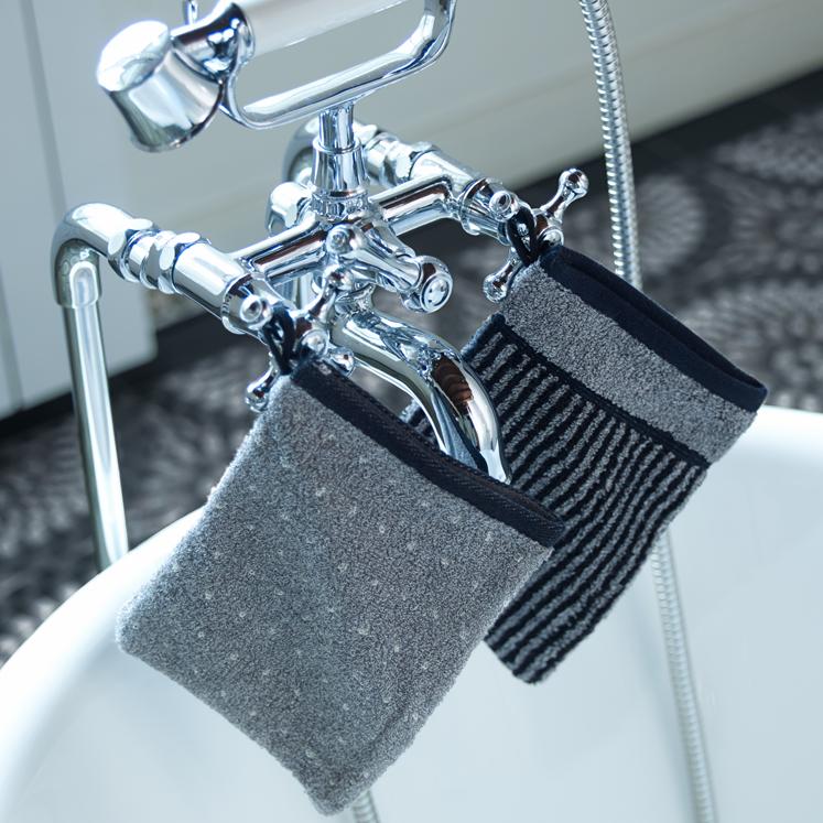 Grace, Waschlappen, Waschhandschuh, Classic, grau, schwarz, Punkte, Streifen