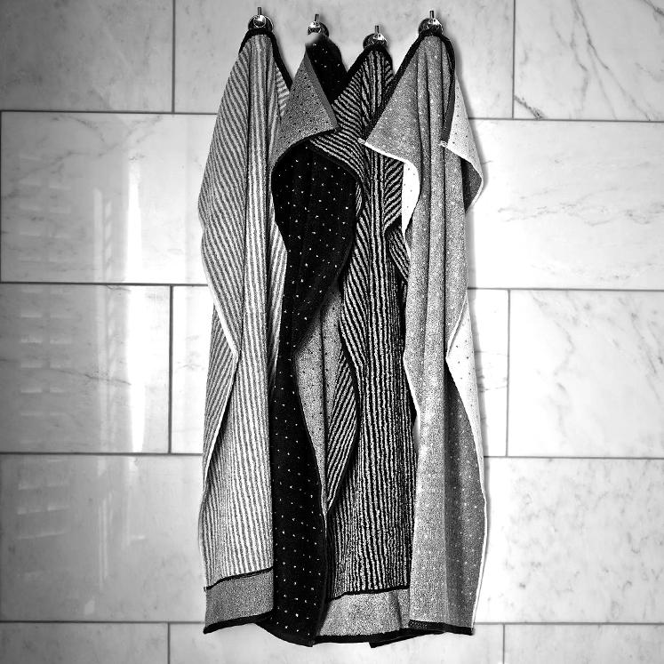 Grace, Streifen, Punkte, Handtuch, Duschtuch, schwarz, grau, weiß