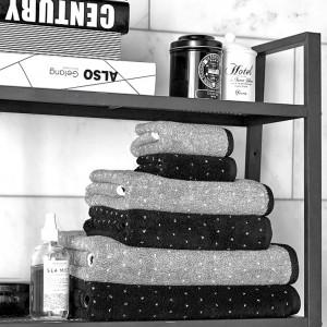 Grace, Stapel, Punkte, Handtuch, Gästehandtuch, Duschtuch, schwarz, grau, weiß