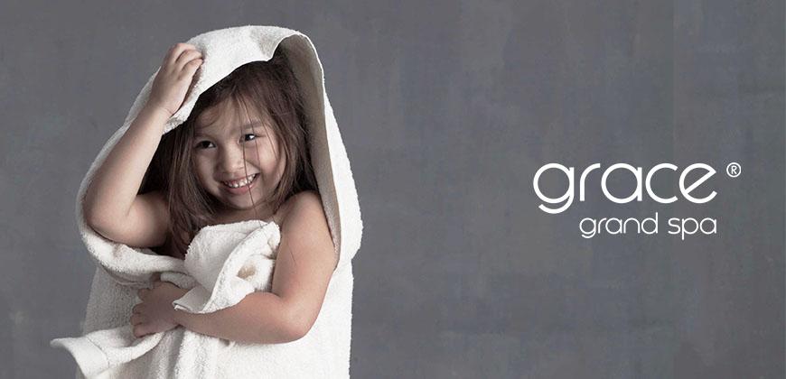 Grace, Grand Spa, Handtuch, Badetuch, Wellnesstuch, Kinder, beige, weiß