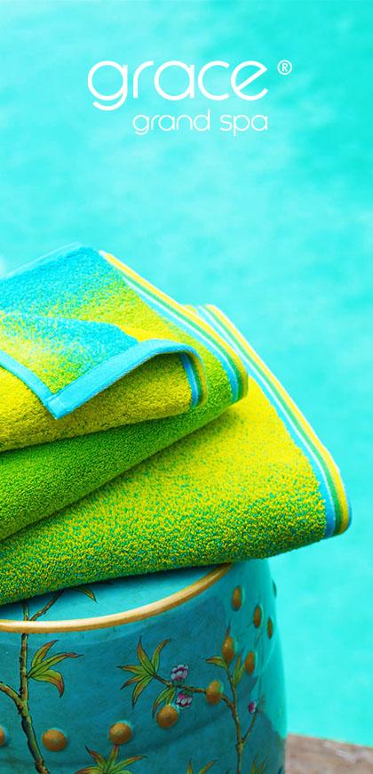 Grace, Handtuch, Duschtuch, Saunatuch, Grand Spa, blau, grün
