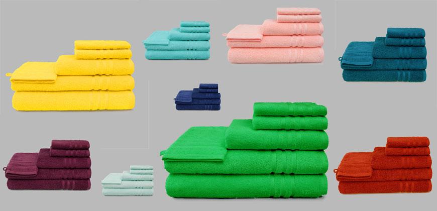 Handtuch, Grace, Gästetuch, farbig, rot, grün, blau, gelb, violett, rosa, Waschlappen, Lappen, Badetuch
